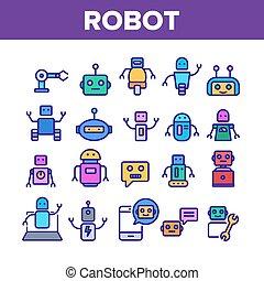 vettore, set, robot, icone, colorare, alta tecnologia