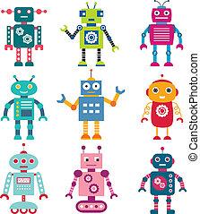 vettore, set, robot