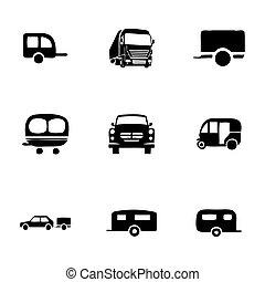 vettore, set, roulotte, icona