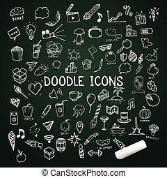 vettore, set, scarabocchiare, icone, gesso, hand-drawn, oggetti