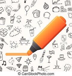 vettore, set, scarabocchiare, icone, mano, arancia, oggetti, fondo, pennarello, disegnato, bianco