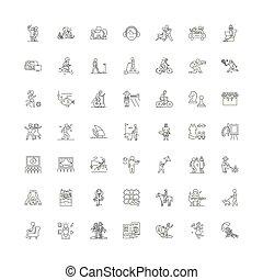 vettore, set, segni, attività, icone, ozio, linea, simboli, illustrazione, lineare