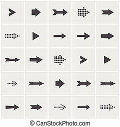 vettore, set, segno, icona freccia