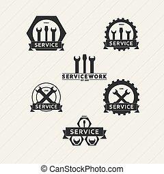 vettore, set, semplice, emblemi, officina, manutenzione