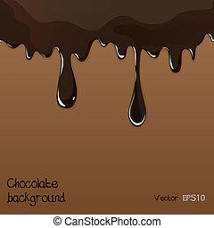 vettore, set, sgocciolatura, cioccolato, caramellato, fondo, bianco