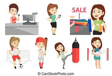 vettore, set, shopping, sportswomen., persone