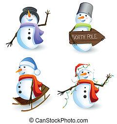 vettore, set, snowmen