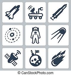 vettore, set, spazio, icone
