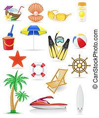 vettore, set, spiaggia, illustrazione, icone