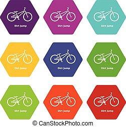 vettore, set, sporcizia, icone, salto, bicicletta, 9