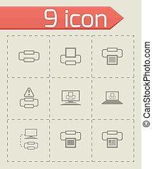vettore, set, stampante, icona
