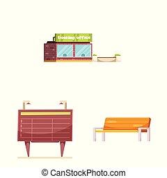 vettore, set, stock., treno, illustrazione, stazione, icon., biglietto, icona