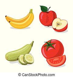 vettore, set, stock., vegetariano, simbolo., illustrazione, frutta, verdura, icona