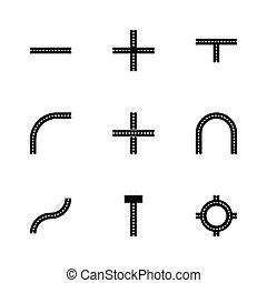 vettore, set, strada, elementi, icona