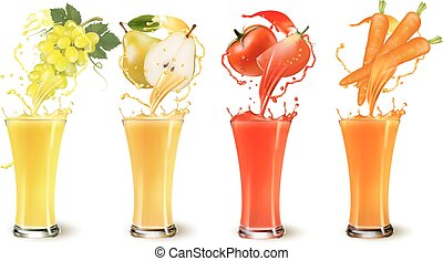 vettore, set, succo, schizzo, carota, pera, uva, frutta, vetro., tomato.