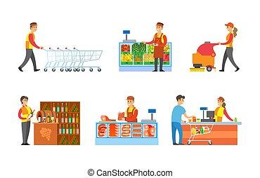 vettore, set, supermercato, dipartimenti, venditori