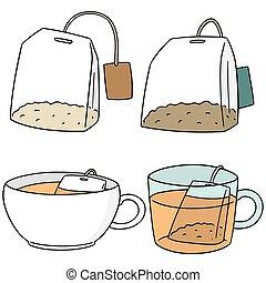 vettore, set, teabag