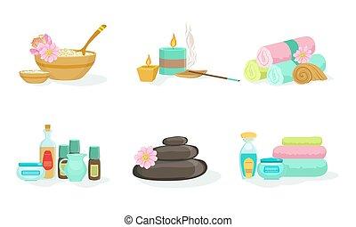 vettore, set, terme, illustration., treatments., attrezzi