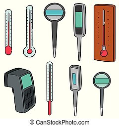 vettore, set, termometro