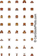 vettore, set, trasporto, icona