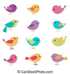 vettore, set, uccelli