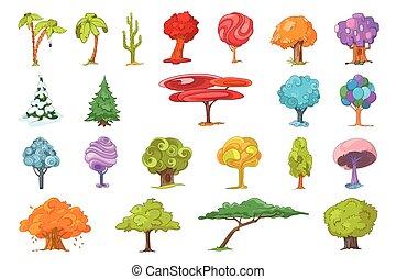 vettore, set, vario, albero, illustrations.