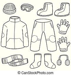 vettore, set, vestiti inverno