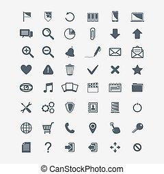 vettore, set, web, grande, fondamentale, icone