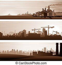 vettore, sfondi industriali, e, urbano, paesaggi