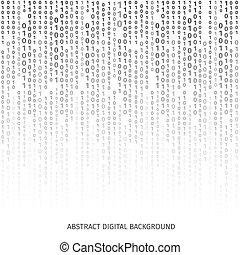 vettore, sfondo nero, codice, binario, bianco, cifre, screen...