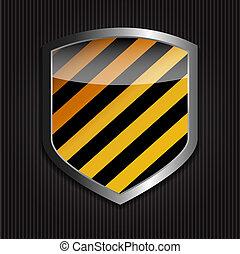 vettore, sfondo nero, proteggere, scudo, illustrazione