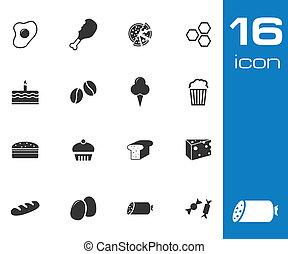 vettore, sfondo nero, set, bianco, icone cibo