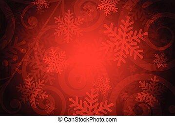 vettore, sfondo rosso, fiocchi neve