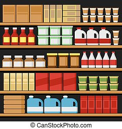 vettore, shelfs, products., supermarket., mensole