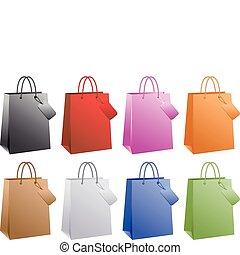 vettore, shopping, colorito, borse
