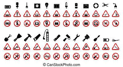 vettore, signs., set, proibizione, illustrazione