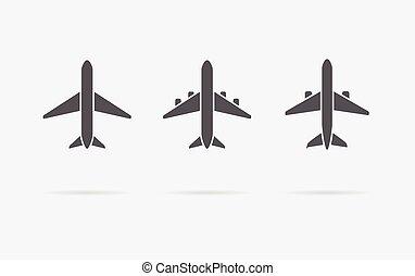 vettore, silhouette, aereo, set, aeroplano, collezione, o, ...