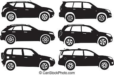 vettore, silhouette, automobili
