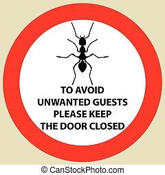 vettore, silhouette, avvertimento, icona, segno, insetto, adesivo, formica, ant.