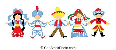 vettore, silhouette, ballo, bambini, bianco, fondo
