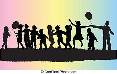 vettore, silhouette, bambini, illustrazione