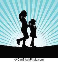 vettore, silhouette, bambini, illustrazione, natura