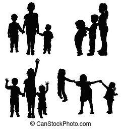 vettore, silhouette, bambini tengono mani