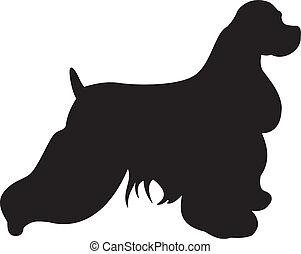 vettore, silhouette, cane