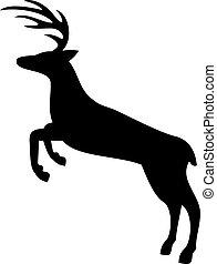 vettore, silhouette, cervo, saltare, illustrazione