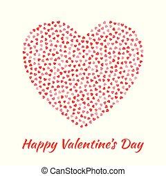 vettore, silhouette, cuore, scheda, gentile, valentines, isolato, cuori, volare, bianco, amore, rosso, giorno, eps10, illustrazione, design., fondo.