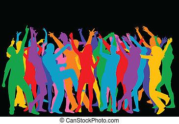 vettore, silhouette, dancers-colored