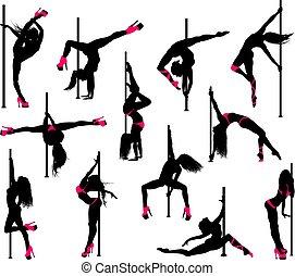 vettore, silhouette, dancer's