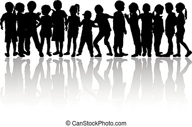 vettore, silhouette, di, bambini, bianco, fondo.