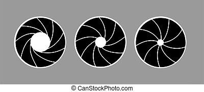 vettore, silhouette, di, il, diaframma, bianco, fondo